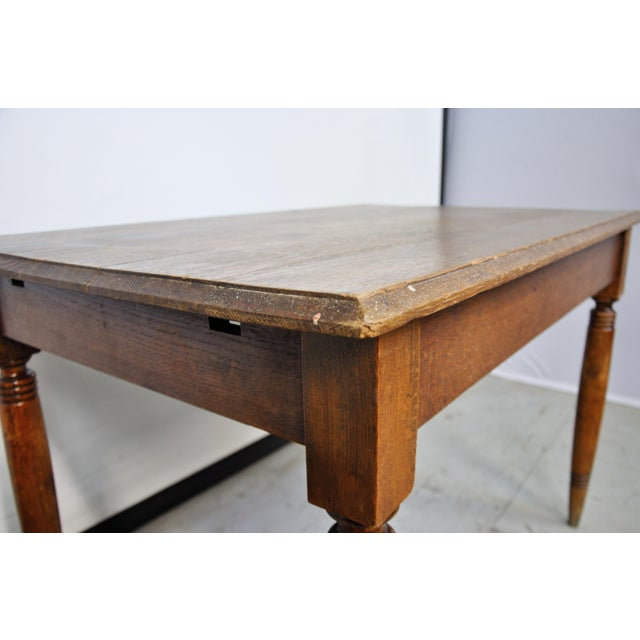 Vintage French Oak Farmhouse Dining Table For Sale In New York - Image 6 of 9