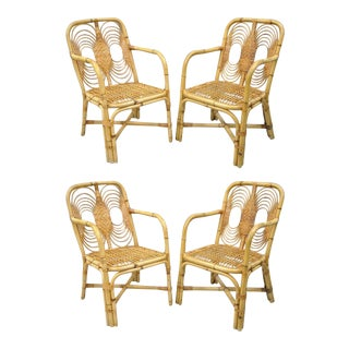 Vintage Rattan Wicker Bamboo Hollywood Regency Dining Sunroom Chairs - Set of 4