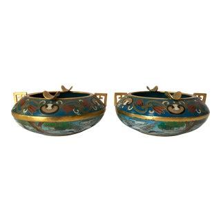 Vintage Cloisonné Ash Trays - A Pair