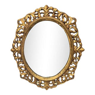 Italian Carved and Water-Gilt Oval Mirror, 1940s For Sale