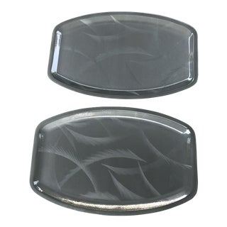 Cathrineholm Gray Cathedral Large Serving Trays - a Pair For Sale