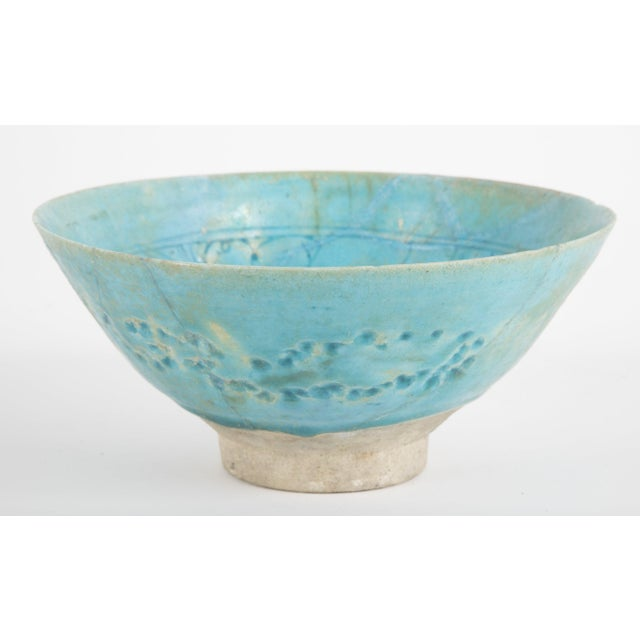 Ceramic Footed Conical Form Kashan Turquoise Glazed Pottery Bowl For Sale - Image 7 of 8