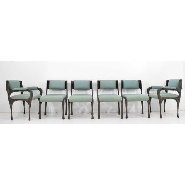 Black Set of Six Paul Evans Brutalist Sculpted Bronze and Resin Dining Chairs, 1972 - See Updated Listing W. New Upholstery For Sale - Image 8 of 11