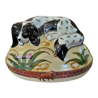 Vintage Limoges King Charles Spaniel Ring Box For Sale