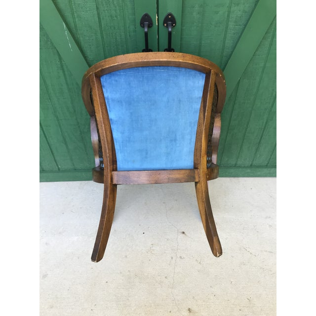 Stupendous Mid Century Blue Velvet Tufted Back Cane Barrel Chair Alphanode Cool Chair Designs And Ideas Alphanodeonline
