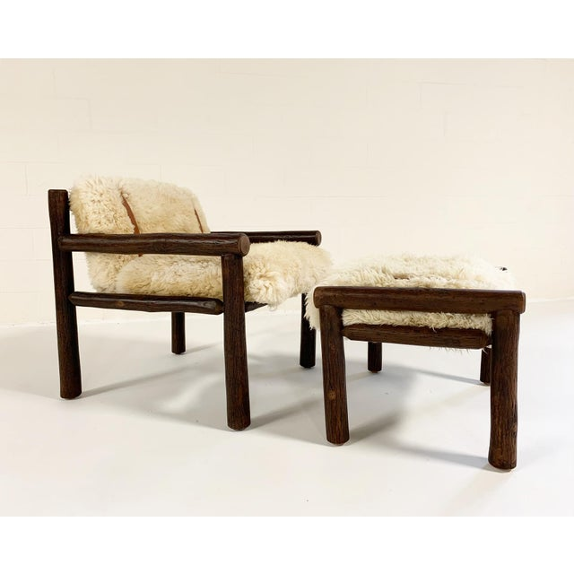Forsyth X Old Hickory Butte Chair and Ottoman With Custom California Sheepskin Cushions and Loro Piana Buffalo Leather For Sale - Image 11 of 11