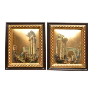 Late 20th Century Framed Italian Eglomise Decoupages - A Pair For Sale