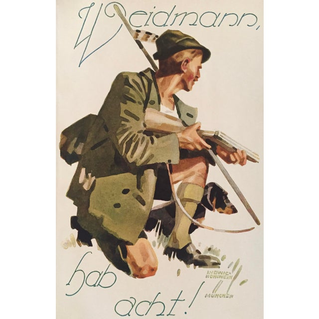 Art Deco 1927 German Art Deco Mini Poster, Weidmann Hunting For Sale - Image 3 of 6