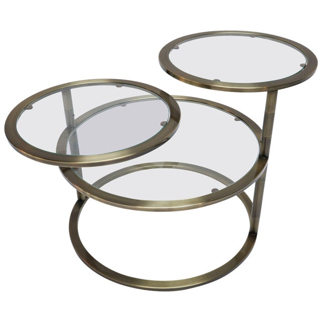 Three Tiered Brass Coffee/Side Table With Adjustable Shelves For Sale