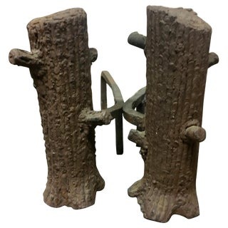 Pair of Faux Bois Andirons For Sale