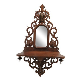 Victorian Style Pierce Carved Mahogany Figural Head Hanging Wall Shelf Mirror For Sale