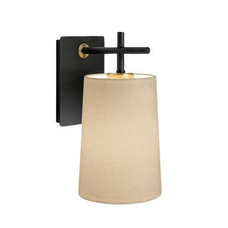 Satin Black and Brushed Brass Wall Light With Shade For Sale