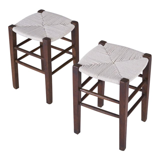 Vintage Mid Century Hand Woven Stools- A Pair For Sale