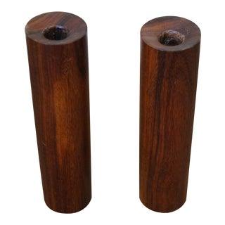 Midcentury Danish Modern Teak Cylinder Candle Sticks - A Pair For Sale