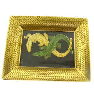 Cartier Porcelain Tray, Vide Poche With Crocodiles For Sale