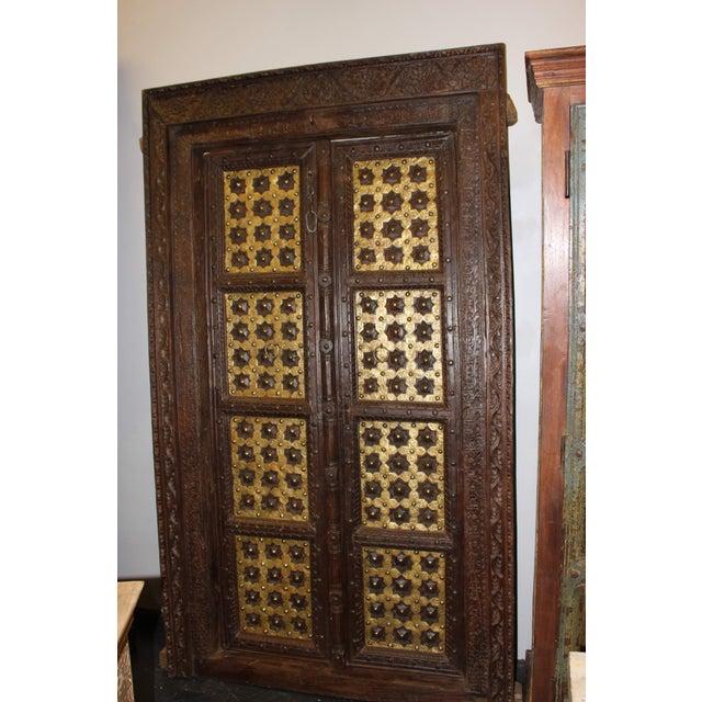 Asian Antique Indian Temple Door Dark Brown Golden Brass Doors For Sale -  Image 3 of - Antique Indian Temple Door Dark Brown Golden Brass Doors Chairish