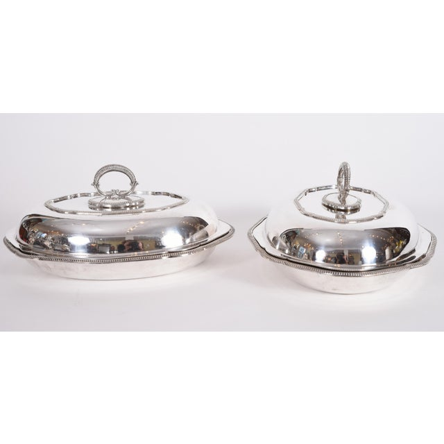 Traditional Vintage English Silver Plated Tableware Serving Dishes - a Pair For Sale - Image 3 of 12