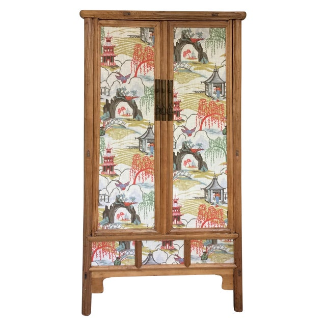 Retro Chinese Upholstered Armoire - Image 1 of 10