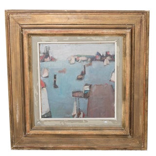 1950s Vintage Abstract Oil Painting on Artist Board by Walter Muller For Sale