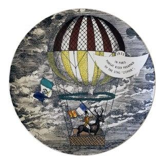 Vintage Piero Fornasetti Porcelain 'Mongolfiere Plate For Sale