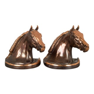 Copper/Bronze Plated Horse Head Bookends by Gladys Brown and Dodge C.1940s - a Pair For Sale