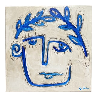 """Hector"" Abstract Face Painting by Alice Houston Miles For Sale"