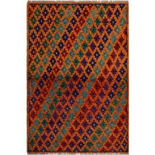 1990s Southwestern Balouchi Felicida Orange/Blue Wool Rug - 3'4 X 4'10 For Sale