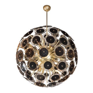 Outstanding Modernist Vistosi Disc Sputnik Chandelier with Black and Clear Discs For Sale