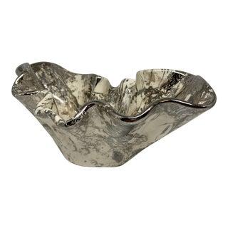 Vintage Sascha Brasstoff Style Marbleized Metallic Ceramic Catchall For Sale