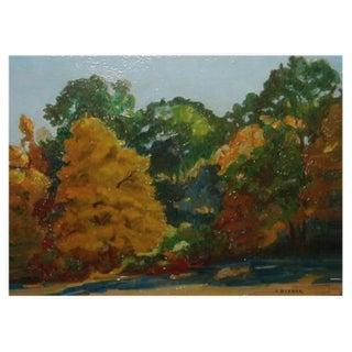 Vintage French Impressionist Landscape Painting by Janos Bednar For Sale