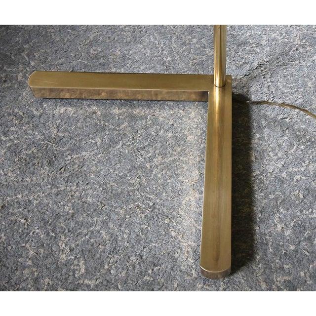 Gold Casella Brass V Base Floor Lamp For Sale - Image 8 of 10