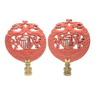 Chinoiserie Coral Lacquer and Brass Lamp Finials - a Pair