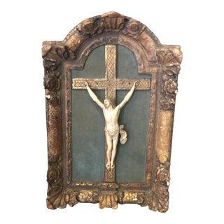 Antique figure on cross on Gilded Frame