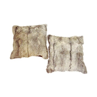 Goat Hide Throw Pillows - A Pair