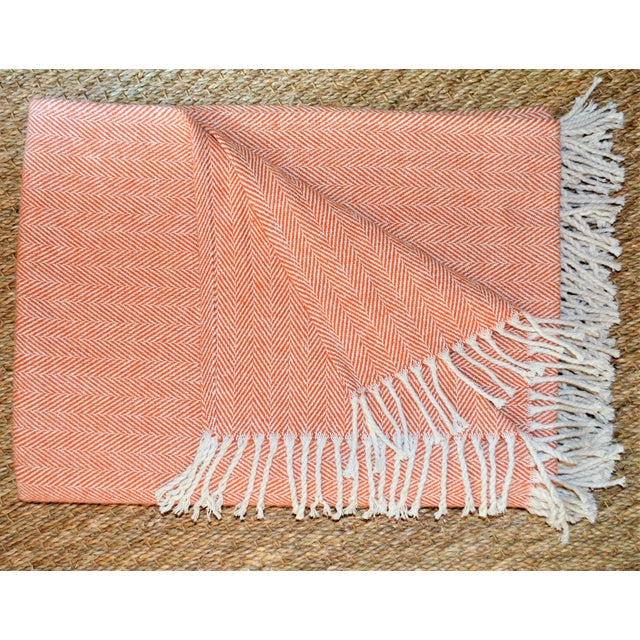 Cotton Italian Apricot and Cream Cotton Throw Blanket For Sale - Image 7 of 9