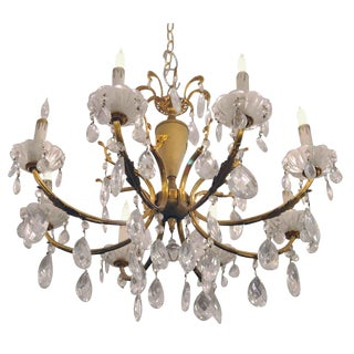 Mid 20th Century Crystal & Gold Gilt Chandelier For Sale