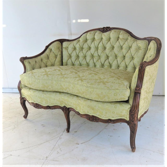 Green Louis XV Style Light Green Tufted Settee For Sale - Image 8 of 8