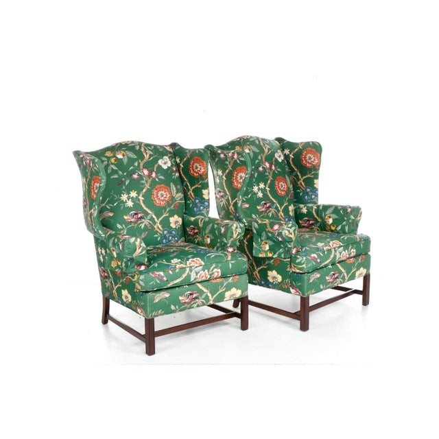 Hollywood Regency Vintage George III Style Wingback Chairs For Sale - Image 3 of 10
