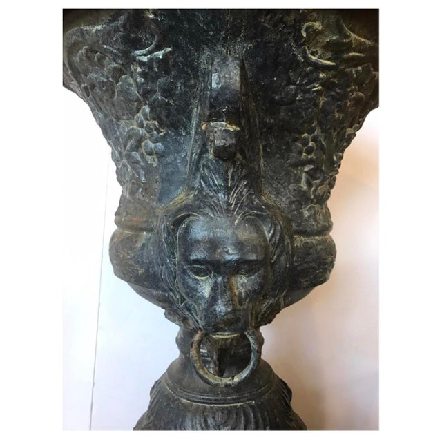Black Monumental Antique Covered Cast Iron Urns on Plinths and Lion Head Handles, Pair For Sale - Image 8 of 11