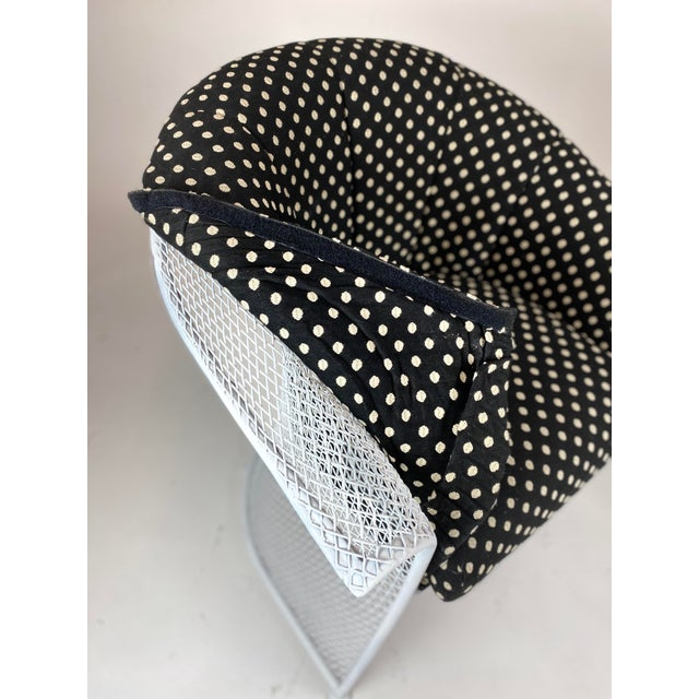 Rare 1950s Russell Woodard Black and White Polka Dot Patio Wrought Iron Set For Sale - Image 11 of 13