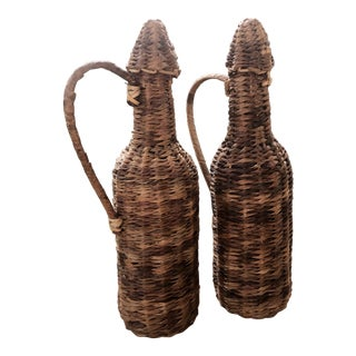 Vintage Natural Woven Raffia Rattan Wrapped Glass Demijohns- a Pair For Sale