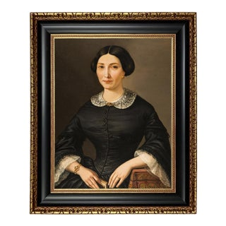 Early Victorian Lady Framed Oil Painting Print on Canvas, Black and Antiqued Gold Frame For Sale