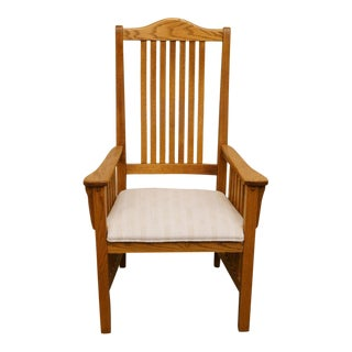 20th Century Traditional Richardson Brothers Solid Oak Dining Arm Chair For Sale
