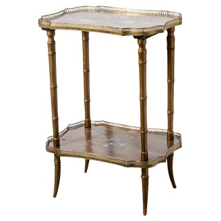 Antique English 19th C. Two Tier Faux Bamboo & Brass Gallery Hp Side Table For Sale