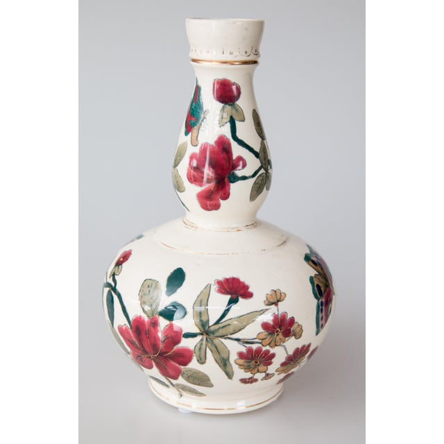Italian Antique Italian Floral & Butterflies Double Gourd Vases - a Pair For Sale - Image 3 of 9