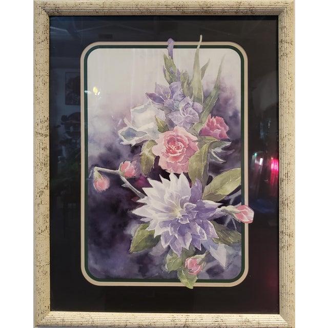 Paper Vintage 1980's Framed Floral Watercolor Print For Sale - Image 7 of 7