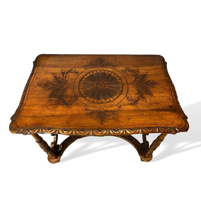 Figurative 1880s Italian Hand Carved Walnut Center Table For Sale - Image 3 of 9
