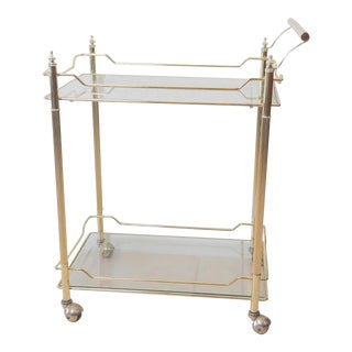 Hollywood Regency Brass and Glass Bar Cart For Sale