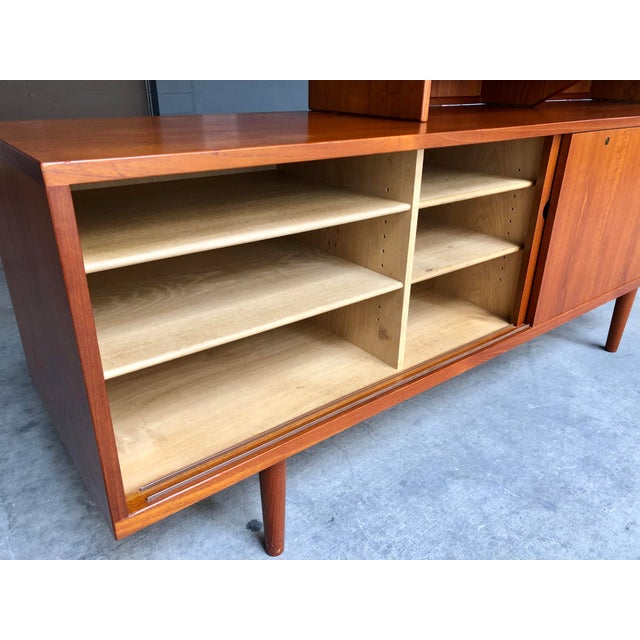 Brass Hans Wegner for Ry Møbler Teak Sideboard Credenza With Hutch - Mid Century Danish Modern Teak China Cabinet Glass Display Case For Sale - Image 7 of 13