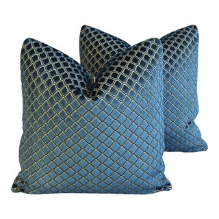 "Lee Jofa Blue Diamond Velvet & Silk Feather/Down Pillows 21"" Square - Pair For Sale"